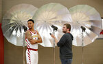 Iowa State guard Nick Weiler-Babb, left, is interviewed during Iowa State's NCAA college basketball media day, Thursday, Oct. 11, 2018, in Ames, Iowa. (AP Photo/Charlie Neibergall)
