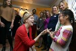 Sen. Elizabeth Warren, D-Mass., greets Charlotte Willing, 7, before speaking during a house party in Concord, N.H., Saturday, Jan. 12, 2019. (AP Photo/Michael Dwyer)