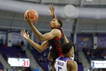 Louisiana-Lafayette forward Jalen Johnson (1) goes up for a shot over TCU guard Jaire Grayer (5) during the first half of an NCAA college basketball game in Fort Worth, Texas, Tuesday, Nov. 12, 2019. (AP Photo/Tony Gutierrez)