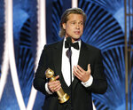 This image released by NBC shows Brad Pitt accepting the award for best supporting actor in a film for his role in