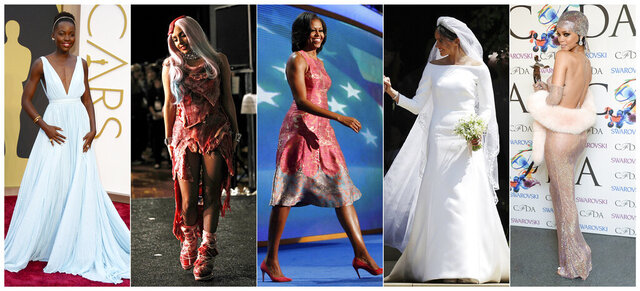 This combination photo shows, from left, Lupita Nyong'o at the Oscars in Los Angeles on March 2, 2014, singer Lady Gaga  wearing a dress made of meat at the MTV Video Music Awards in Los Angeles on Sept. 12, 2010, first lady Michelle Obama wearing a Tracy Reese dress at the Democratic National Convention in Charlotte, N.C. on Sept. 4, 2012, Meghan Markle at St George's Chapel at Windsor Castle in Windsor, near London, England, following her wedding to Britain's Prince Harry, and Fashion Icon Award honoree Rihanna at the 2014 CFDA Fashion Awards in New York on June 2, 2014. (AP Photo)