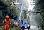 FILE - In this Jan. 8, 2017 file photo, a Pacific Gas and Electric Company crews work to clear a downed tree over Highway 9 north of Boulder Creek, Calif. PG&E pushed back Friday, March 22, 2019, on a U.S. judge's revised proposals to prevent the utility's equipment from causing more wildfires, saying it could not