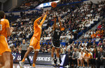 Connecticut's Crystal Dangerfield shoots over Tennessee's Jazmine Massengill in the first half of an NCAA college basketball game, Thursday, Jan. 23, 2020, in Hartford, Conn. (AP Photo/Jessica Hill)