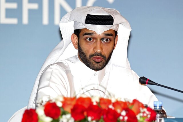 FILE - This is a Thursday, Feb 25, 2015 file photo, Hassan Al Thawadi, head of the Qatar 2022 World Cup organizing committee speaks during a press conference, in Doha.  Organizers of the 2022 World Cup have become the latest Qatari state entity to make staff redundant. The World Cup organizing committee secretary general Hassan Al Thawadi recently spoke Monday July 6, 2020, of his concerns about the looming global recession, without directly citing the coronavirus pandemic.(AP Photo/Osama Faisal, File)