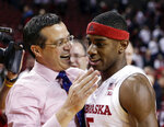 FILE - In this Dec. 5, 2017, file photo, Nebraska coach Tim Miles celebrates with Glynn Watson Jr., who scored 29 points, following the team's NCAA college basketball game against Minnesota, in Lincoln, Neb. Watson is the only remaining member of Nebraska's five-man 2015 recruiting class who is still on the roster, and Miles calls the senior the leader of a team that is on track to make the NCAA Tournament for the first time since 2014. (AP Photo/Nati Harnik, File)
