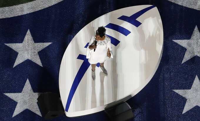 Gladys Knight sings the national anthem before the NFL Super Bowl 53 football game between the Los Angeles Rams and the New England Patriots Sunday, Feb. 3, 2019, in Atlanta. (AP Photo/Morry Gash)