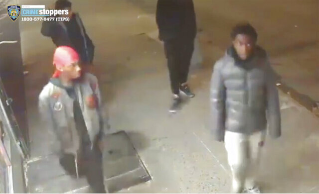 This still image taken from surveillance video provided by NYPD shows suspects in connection to a mugging of a 60-year-old man on Tuesday, Dec. 24, 2019 in the the Morrisania neighborhood of the Bronx in New York. Juan Fresnada died Friday, Dec. 27,  at the Bronx hospital where he was taken in critical condition after the mugging early Tuesday, the New York Police Department said. Officers have released surveillance photos and videos in hopes of pinpointing suspects.  (NYPD via AP)