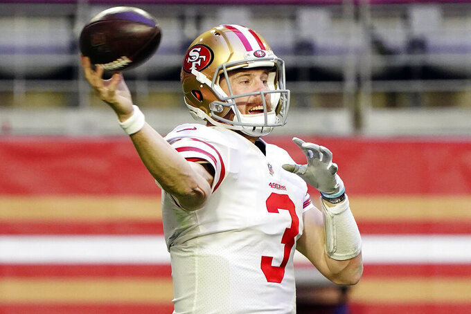 FILE - San Francisco 49ers quarterback C.J. Beathard (3) throws against the Seattle Seahawks during the first half of an NFL football game in Glendale, Ariz., in this Sunday, Jan. 3, 2021, file photo. The Jacksonville Jaguars signed former San Francisco 49ers quarterback C.J. Beathard on Wednesday, March 24, 2021, giving them an experienced backup if they trade Gardner Minshew. (AP Photo/Rick Scuteri, File)