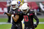 Arizona Cardinals wide receiver DeAndre Hopkins (10) celebrates his touchdown with running back Kenyan Drake (41) during the second half of an NFL football game against the Los Angeles Rams, Sunday, Dec. 6, 2020, in Glendale, Ariz. (AP Photo/Ross D. Franklin)