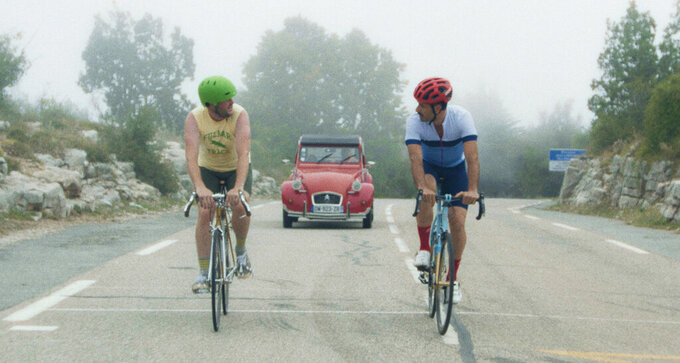 """This image released by Sony Pictures Classics shows Kyle Marvin, left, and Michael Angelo Covino in a scene from """"The Climb."""" (Zach Kuperstein/Sony Pictures Classics via AP)"""