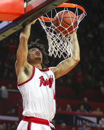 Rutgers guard Geo Baker (0) scores two of his game-high 22 points during the second half of an NCAA college basketball game against Wisconsin, in Piscataway, N.J., Wednesday, Dec. 11, 2019. (Andrew Mills/NJ Advance Media via AP)