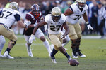 Georgia Tech running back Jordan Mason (27) chases down a loose ball in the first half of an NCAA football game against the Virginia Tech Saturday, Nov. 16, 2019, in Atlanta. (AP Photo/John Bazemore)