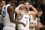 Saint Mary's guard Logan Johnson (1) reacts to his team's play against Long Beach State during the first half of an NCAA college basketball game Thursday, Nov. 14, 2019, in Moraga, Calif. (AP Photo/D. Ross Cameron)