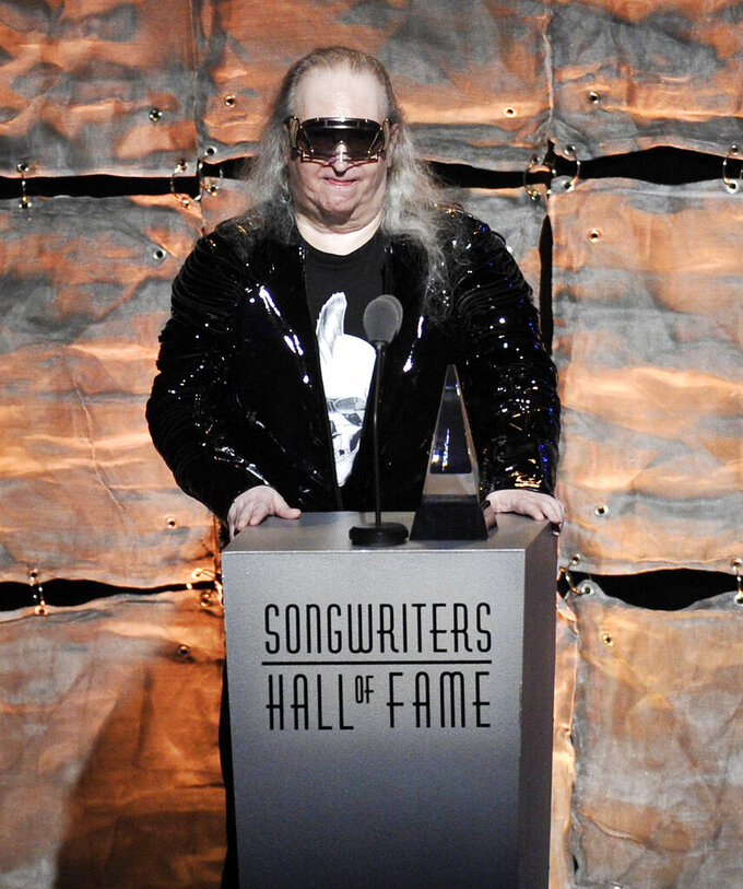 "FILE - Inductee Jim Steinman speaks at the 2012 Songwriters Hall of Fame induction and awards gala in New York on June 14, 2012. Steinman, the Grammy-winning composer and playwright who wrote Meat Loaf's best-selling ""Bat Out Of Hell"" debut album as well as hits for Celine Dion, Air Supply and Bonnie Tyler, has died, at 73. Bill Steinman told The Associated Press that his brother died Monday from kidney failure and was ill for some time. (Photo by Evan Agostini/Invision, File)"