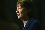 Senator Susan Collins delivers remarks at the Maine Chiefs of Police Association Winter Conference in South Portland, Maine, Friday, Feb. 7, 2020. (Shawn Patrick Ouellette/Portland Press Herald via AP)