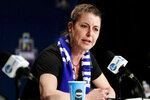 "FILE - In this March 23, 2018, file photo, Duke head coach Joanne P. McCallie speaks during a news conference at the NCAA women's college basketball tournament, in Albany, N.Y. McCallie won't return for a 14th season as Duke's women's basketball coach. McCallie announced her departure in a 6-minute video posted Thursday, July 2, 2020, on the program's Twitter account. She said she was ""choosing to step away"" as coach, saying she wanted to bring ""clarity"" instead of uncertainty as she entered the final year of her contract. (AP Photo/Frank Franklin II, File)"