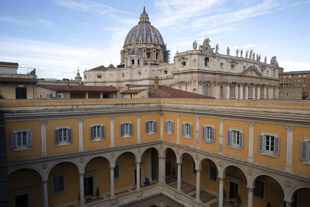 This Monday, Dec. 9, 2019 photo shows the Congregation for the Doctrine of the Faith offices at the Vatican. The Vatican office responsible for processing clergy sex abuse complaints has seen a record 1,000 cases reported from around the world this year, including from countries it had not heard from before, suggesting that the worst may be yet to come in a crisis that has plagued the Catholic Church. (AP Photo/Alessandra Tarantino)