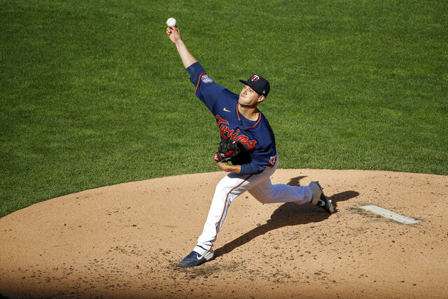 Minnesota Twins starting pitcher Matt Wisler throws to the Detroit Tigers in the second inning of the second game of a baseball doubleheader Friday, Sept. 4, 2020, in Minneapolis. (AP Photo/Bruce Kluckhohn)