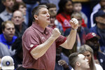 Boston College coach Jim Christian directs his players during the first half of an NCAA college basketball game against Duke in Durham, N.C., Tuesday, Dec. 31, 2019. (AP Photo/Gerry Broome)