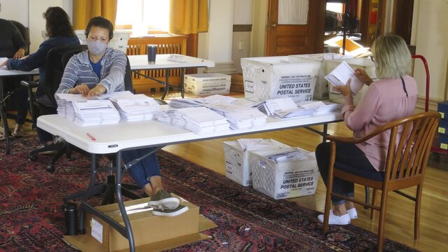 Election workers process absentee ballots for the primary elections in Portland City Hall on Friday, July 14, 2020 in Portland, Maine. Voters had been encouraged to vote via mail-in absentee ballots ahead of the election on Tuesday, July 14. (AP Photo/David Sharp)