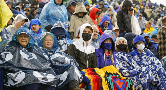 BYU fans look on in the first half during an NCAA college football game against Boise State Saturday, Oct. 9, 2021, in Provo, Utah. (AP Photo/Rick Bowmer)