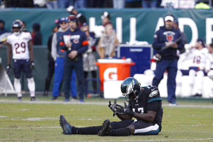 Philadelphia Eagles' Alshon Jeffery reacts after missing a pass during the second half of an NFL football game against the Chicago Bears, Sunday, Nov. 3, 2019, in Philadelphia. (AP Photo/Chris Szagola)