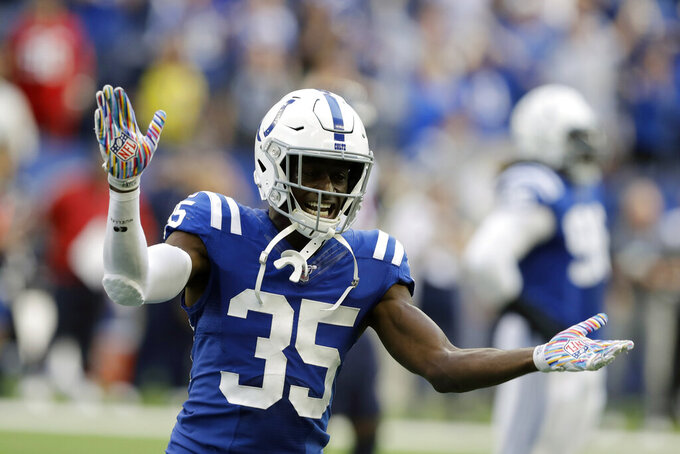 FILE - In this Sunday, Oct. 20, 2019 file photo, Indianapolis Colts' Pierre Desir (35) reacts during the second half of an NFL football game against the Houston Texans in Indianapolis. Two people with direct knowledge of the contract say the New York Jets and cornerback Pierre Desir have agreed to terms on a deal, Sunday, March 22, 2020. (AP Photo/Darron Cummings, File)