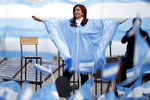 In this Oct. 27, 2019 file photo, Cristina Fernandez, who went on toe win Argentina's vice presidency, waves to supporters at a closing campaign rally with now President-elect Alberto Fernandez in Mar Del Plata, Argentina. Many are asking what degree of power Cristina Fernandez, a former president and first lady who is accused of various acts of corruption, will wield in the new administration. (AP Photo/Natacha Pisarenko, File)