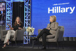 Nanette Burstein, left, and Hillary Clinton participate in the Hulu