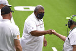 Houston Texans head coach Romeo Crennel during the first half of an NFL football game against the Jacksonville Jaguars, Sunday, Oct. 11, 2020, in Houston. (AP Photo/Eric Christian Smith)