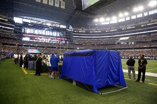 On Football Blue tent