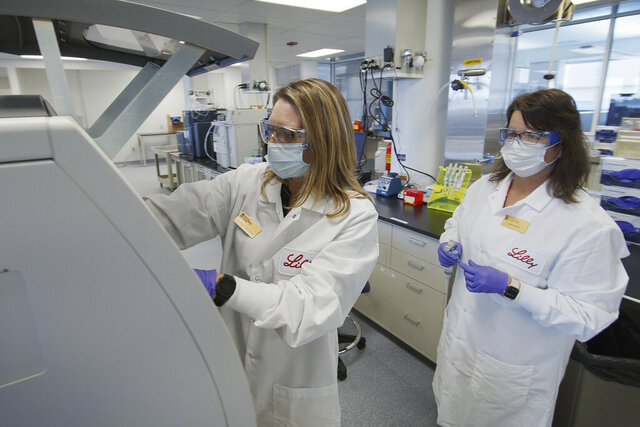 FILE - In this May 2020 photo provided by Eli Lilly, researchers prepare cells to produce possible COVID-19 antibodies for testing in a laboratory in Indianapolis. The drug company says it has asked the U.S. government to allow emergency use of an experimental antibody therapy based on early results from a study suggesting the drug reduced symptoms, the amount of virus and hospitalizations and ER visits for patients with mild or moderate COVID-19. Eli Lilly and Company announced the partial results Wednesday, Oct. 7 in a news release; they have not yet been published or reviewed by independent scientists. Its drug is similar to one that President Donald Trump received on Friday, Oct. 2 from Regeneron Pharmaceuticals Inc. (David Morrison/Eli Lilly via AP, File)