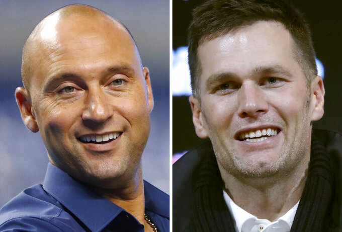FILE - These are 2019 file photos showing Derek Jeter, left, and Tom Brady. Former New York Yankee superstar Derek Jeter has sold his waterfront mansion in Tampa for $22.5 million — meaning Tom Brady might be headed to new rental digs.  The seven-bedroom, eight-bath estate was sold on Friday, May 14, 2021, said Smith & Associates, the real estate firm that handled the transaction. Brady has been renting the mansion since April 2020. (AP Photo/File)