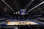 Tip off as Oklahoma plays Gonzaga in the first half of a college basketball game in the second round of the NCAA tournament at Hinkle Fieldhouse in Indianapolis, Monday, March 22, 2021. (AP Photo/AJ Mast)