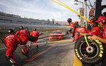 Michael Annett's crew runs out for a pit stop during the NASCAR Xfinity Series auto race at Las Vegas Motor Speedway on Saturday, Sept. 26, 2020, in Las Vegas. (Ellen Schmidt/Las Vegas Review-Journal via AP)