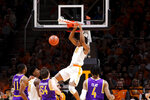 Tennessee Yves Pons (35) dunks the ball against Tennessee Tech in the second half of an NCAA college basketball game Saturday, Dec. 29, 2018, in Knoxville, Tenn.  (AP Photo/Shawn Millsaps)