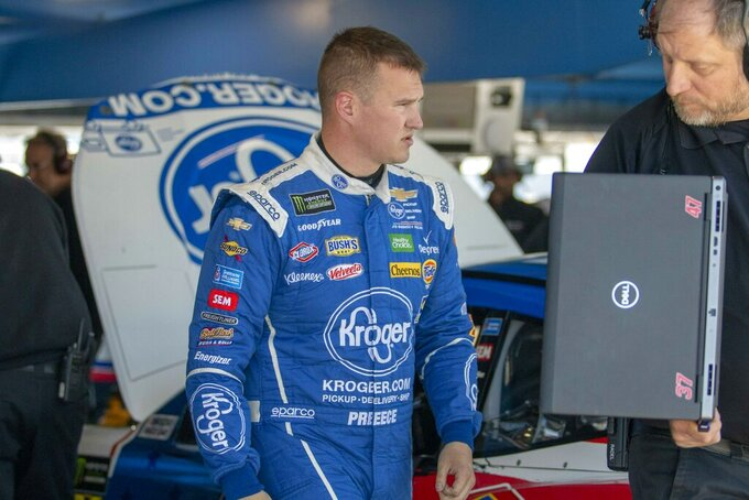 Ryan Preece in the garage area during practice at Martinsville Speedway in Martinsville, Va., on Saturday, March 23, 2019. (AP Photo/Matt Bell)