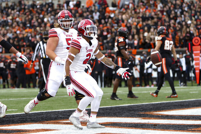 Utah running back Micah Bernard (2) celebrates after scoring a touchdown against Oregon State during the first half of an NCAA college football game Saturday, Oct. 23, 2021, in Corvallis, Ore. (AP Photo/Amanda Loman)