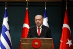Turkey's President Recep Tayyip Erdogan speaks during a press conference with Greece's Prime Minister Alexis Tsipras at the Presidential Palace in Ankara, Tuesday, Feb. 5, 2019. Tsipras and Erdogan are set to discuss an array of subjects that have strained relations between the two NATO allies, including territorial disputes in the Aegean Sea and gas exploration in the eastern Mediterranean. (AP Photo/Burhan Ozbilici)