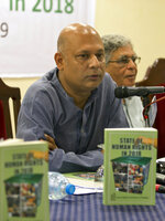 Harris Khalil, Secretary General of the Human Rights Commission of Pakistan presents their report, State of Human Rights in 2018, in Islamabad, Pakistan, Monday, April 15, 2019. The independent Pakistani watchdog voiced its concern over increasing incidents of forced conversion of minority Hindu girls by Muslims to marry them, saying there is a need to stop this practice through legislation. (AP Photo/B.K. Bangash)