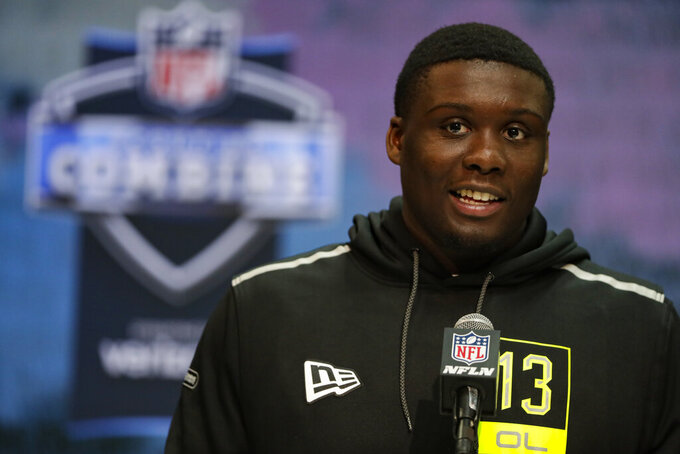 LSU offensive lineman Lloyd Cushenberry speaks during a press conference at the NFL football scouting combine in Indianapolis, Wednesday, Feb. 26, 2020. (AP Photo/Michael Conroy)