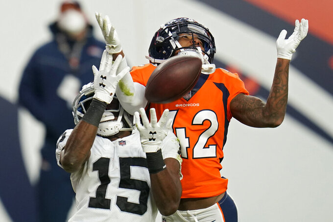 Las Vegas Raiders wide receiver Nelson Agholor (15) misses a reception while guarded by Denver Broncos cornerback Parnell Motley during the first half of an NFL football game, Sunday, Jan. 3, 2021, in Denver. (AP Photo/Jack Dempsey)