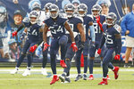 Tennessee Titans inside linebacker Rashaan Evans (54) celebrates after making a stop against the Houston Texans in the second half of an NFL football game Sunday, Oct. 18, 2020, in Nashville, Tenn. (AP Photo/Wade Payne)