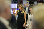 New York Stock Exchange President Stacey Cunningham, right, and first lady Melania Trump walk on the floor of the NYSE before ringing the opening bell in New York, Monday, Sept. 23, 2019. (AP Photo/Seth Wenig)