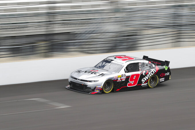 NASCAR Xfinity Series driver Noah Gragson drives down the main straightaway during NASCAR Xfinity auto racing practice at Indianapolis Motor Speedway, Friday, Sept. 6, 2019 in Indianapolis. (AP Photo/Michael Conroy)