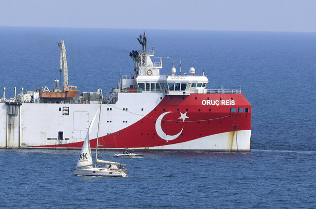 FILE - In this Sunday, Sept. 13, 2020 file photo, Turkey's research vessel, Oruc Reis anchored off the coast of Antalya on the Mediterranean, Turkey. Greece accused neighbor Turkey of undermining efforts to ease a crisis over drilling rights in the eastern Mediterranean on Monday Oct. 12, 2020, after Turkey announced its survey vessel, the Oruc Reis, would be dispatched for a new research mission in disputed waters. (AP Photo/Burhan Ozbilici, File)