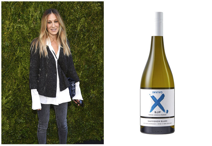 This combination photo shows actress Sarah Jessica Parker at the 2018 Chanel Tribeca Film Festival Women Filmmakers Luncheon in New York on April 20, 2018, left, and a bottle of her new sauvignon blanc, X SJP. Celebrities are deep into the liquor and wine business with their own brands that are particularly gifty for drink-loving fans. (AP Photo, left, and Invivo & Co. via AP)