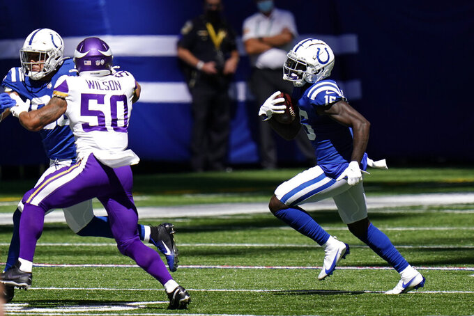Indianapolis Colts' Parris Campbell (15) runs with the ball during the first half of an NFL football game against the Minnesota Vikings, Sunday, Sept. 20, 2020, in Indianapolis. (AP Photo/AJ Mast)