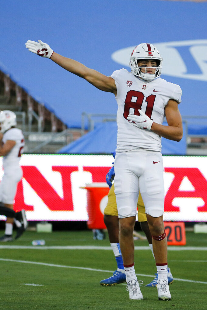 Stanford wide receiver Brycen Tremayne (81) celebrates after making a catch against UCLA during the first half of an NCAA college football game Saturday, Dec. 19, 2020, in Pasadena, Calif. (AP Photo/Ringo H.W. Chiu)