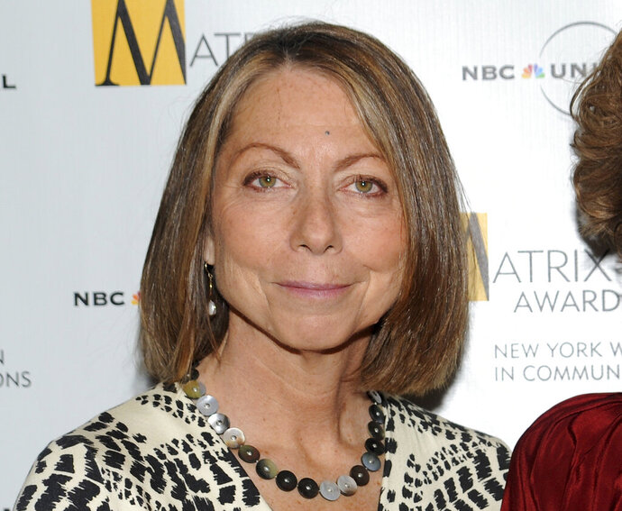 FILE - In this April 19, 2010, file photo, Jill Abramson attends the 2010 Matrix Awards presented by the New York Women in Communications at the Waldorf-Astoria Hotel in New York. Former New York Times editor Jill Abramson takes a dim view of many of the appearances that reporters at her former newspaper and The Washington Post make on Trump-centric cable television networks. She says that many are a huge mistake, since they put reporters in a position of seeming to be opinionated. Print reporters are a staple of coverage at CNN and MSNBC these days, often touting the stories they are writing for their newspapers. (AP Photo/Evan Agostini, File)